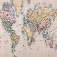 Old fashioned world map